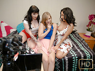 Amilia Onyx, Dolly Leigh, and Selena Stone in Cam Cuties With The Booties - Dyked | Team Skeet